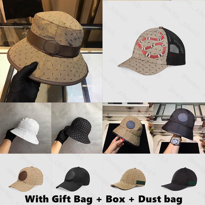 Für Geschenk mit Kasten Geschenk Tasche Staubbeutel 2021 Designer Eimer Hüte Kappe Mütze für Herren Womens Baseball Caps Golf Snapback Stingy Rand Hüte
