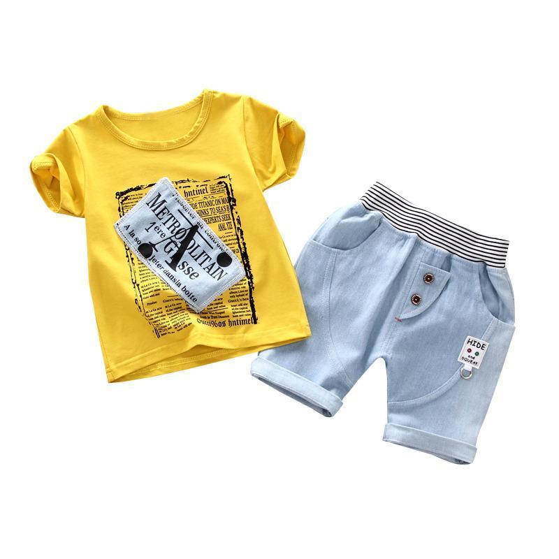 Детская мода одежда новых летних детей мальчиков девочек печати футболка джинсы шорты 2 шт. / Установки детской детской одежды малышей Sportswear 201126