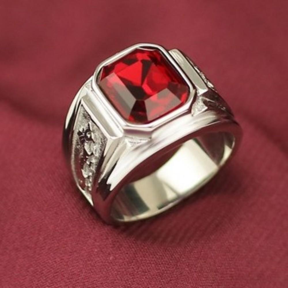 anel do homem retro padrão de dragão chinês imitação rubi 316L titânio médica anel de dedo indicador aço 2020 jóia nova moda dos homens anel