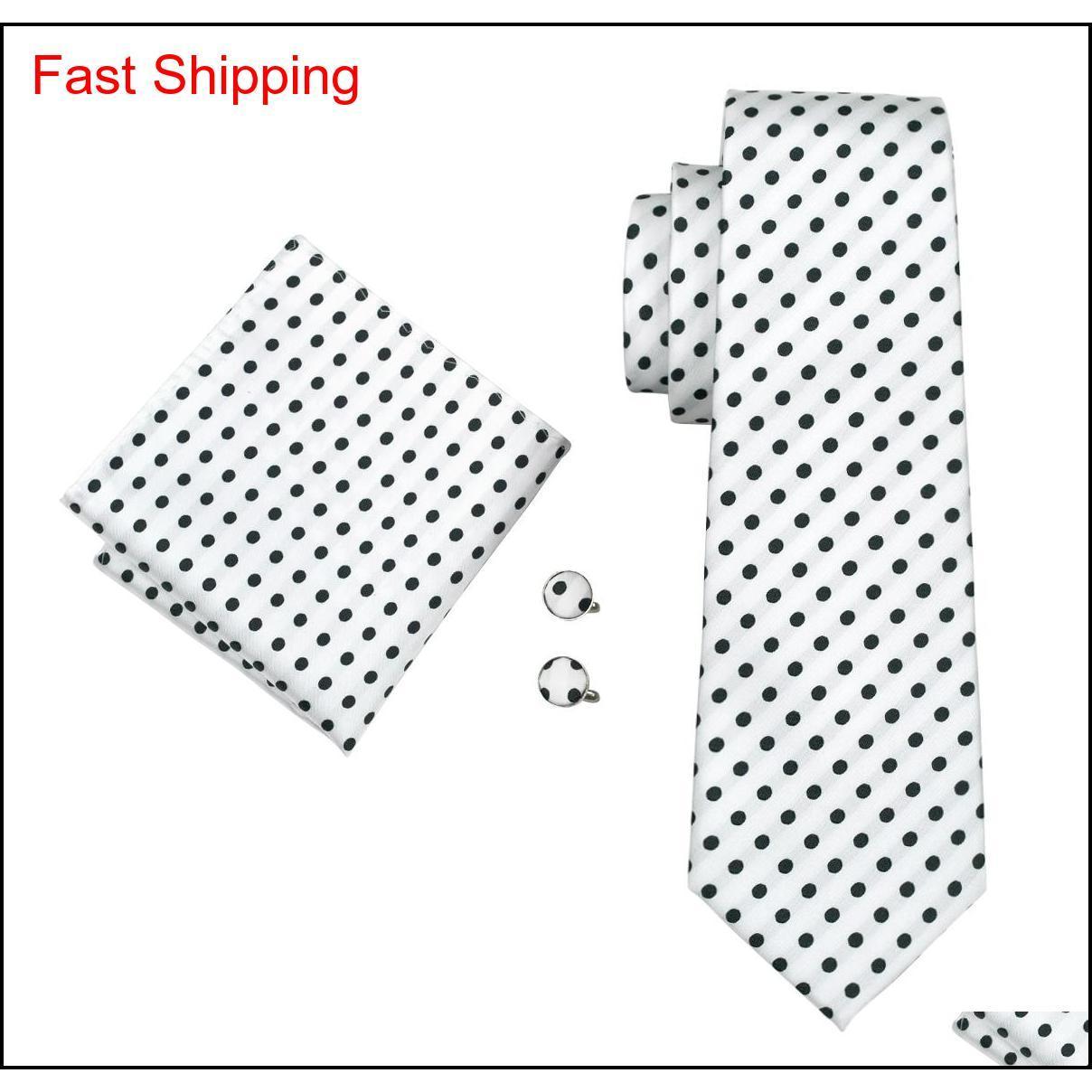 CLASSIC Silk Mens Collo Cravatta Dot Tie Set Set di cravatta Bianco Ties Tie Tie Hanky Gemelli Set Jacquard Tessuto Meeting Business We Qylqkn Nana_Shop