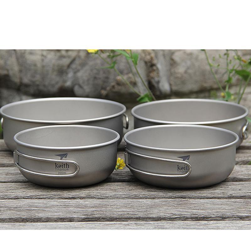 Keith Titanium pliant Bols Camping Bowl avec poignée pliable camping en plein air de pique-nique Vaisselle Couverts 300ml / 400ml / 500ml / 600ml C1108