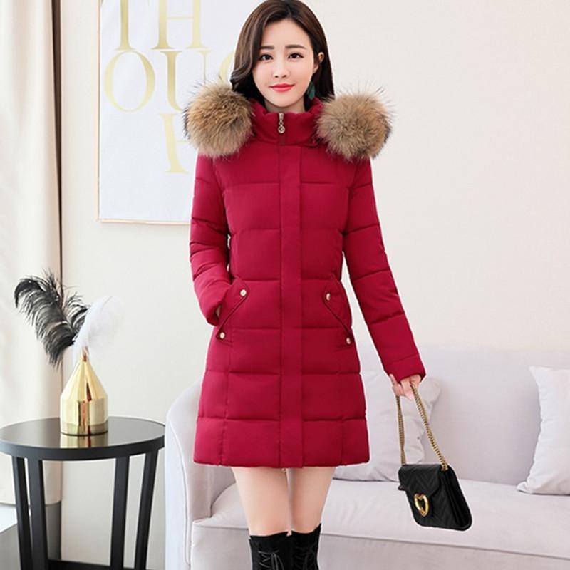 Kalite Geyik Tüy Aşağı Ceket Kış Coat Kadın Kürk Yaka Kapşonlu Soğuk Sıcak Parker Coat Kalın 4XL Artı Boyutu Ceket