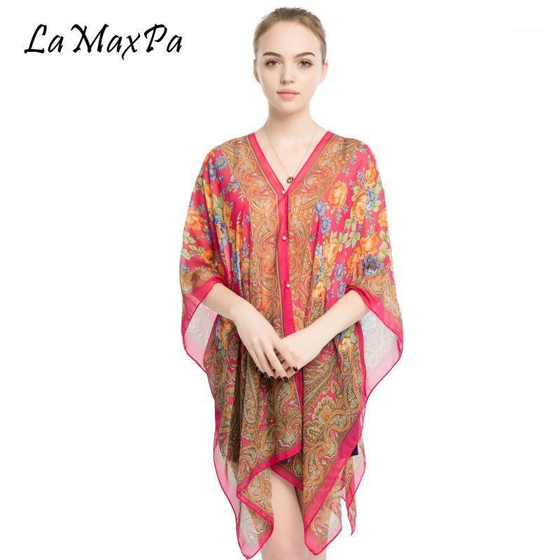Scarves LaMaxPa Women Chiffon Sunscreen Beach Shawl Classic Preppy Style Beachwear For Girl DIY Femme Echarpe Vrouw Sjaals1