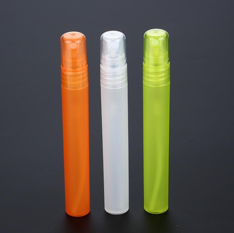 Viagem portátil Mini 10ml colorido recarregáveis de plástico spray atomizador de perfume Frascos vazios frete grátis LX2879