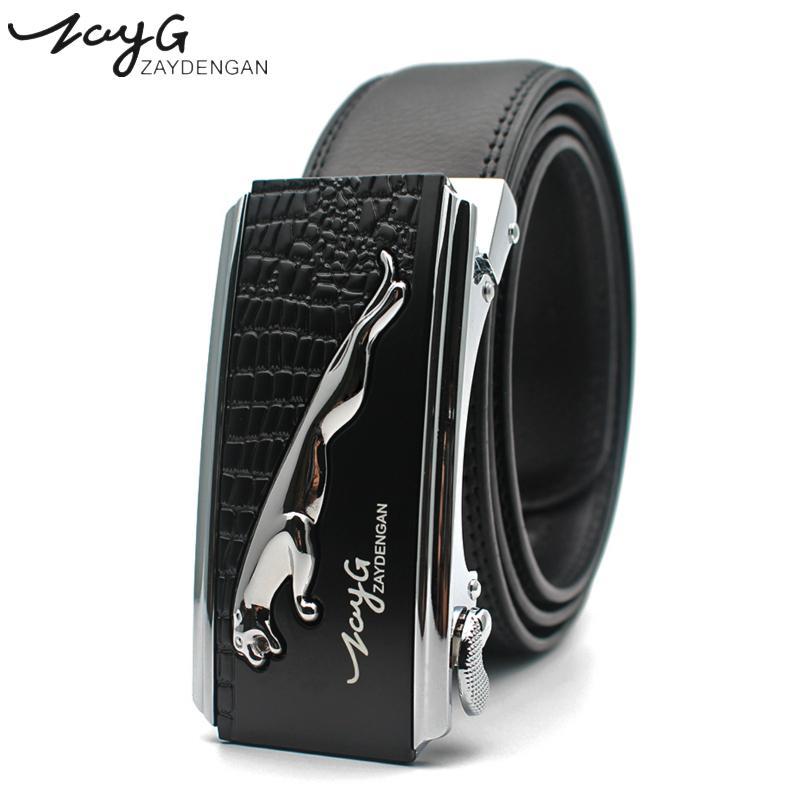 Homens de alta qualidade cinto designer homens cinto de couro jaguar fivela automática cintura luxo moda cintos negócios para homens jeans j1223