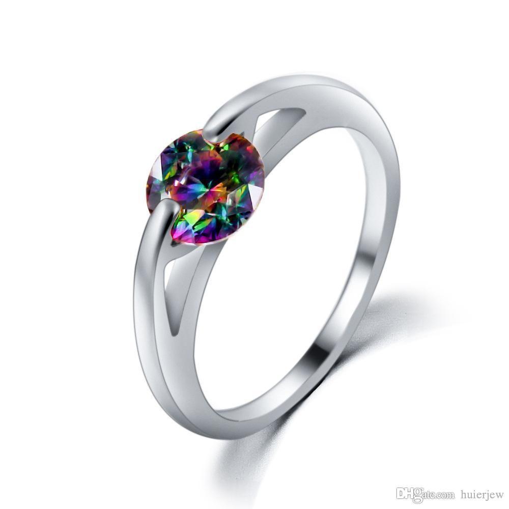 Matrimonio anello di fidanzamento 18K viola cristallo rosso Anelli Mujer Bijoux fidanzamento Gemstone Rings