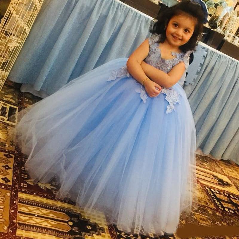 Lentejuelas chica linda flor vestido en línea Una línea muchacha de tul de longitud de té desfile de vestidos de fiesta de la boda vestido de fiesta formal de los niños