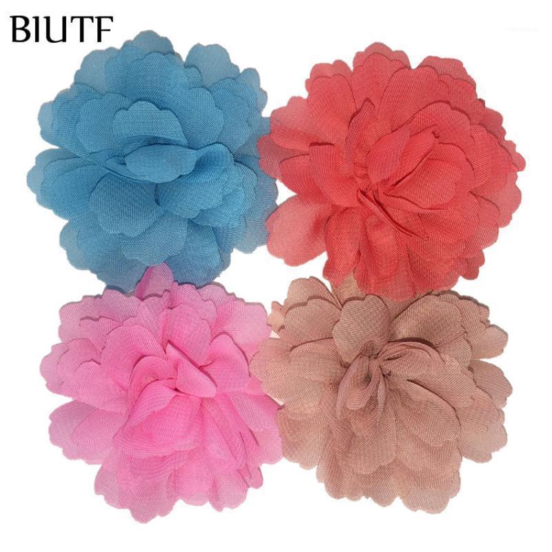 10pcs / lot 7.5cm arruffato weavy chiffon fiore fiore 3 pollici fiore di colore solido con clip per capelli princess headwear th2461