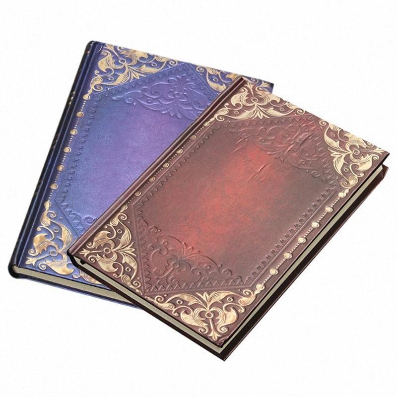 Урожай классический ретро Золотой плед подставил ноутбук Портативный Дневник Журнал Книга Zagp #