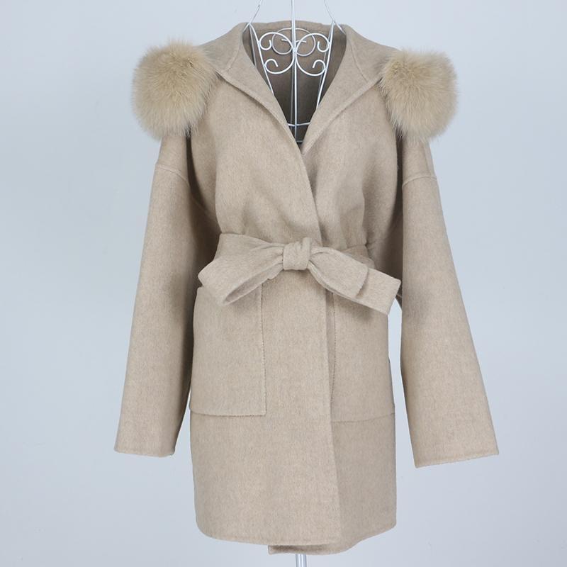 OFTBUY Yeni Boy Gevşek Kaşmir Yün Karışımları Gerçek Kürk Kış Ceket Kadınlar Doğal Fox Kürk Yaka Hood Giyim Kemer 201103