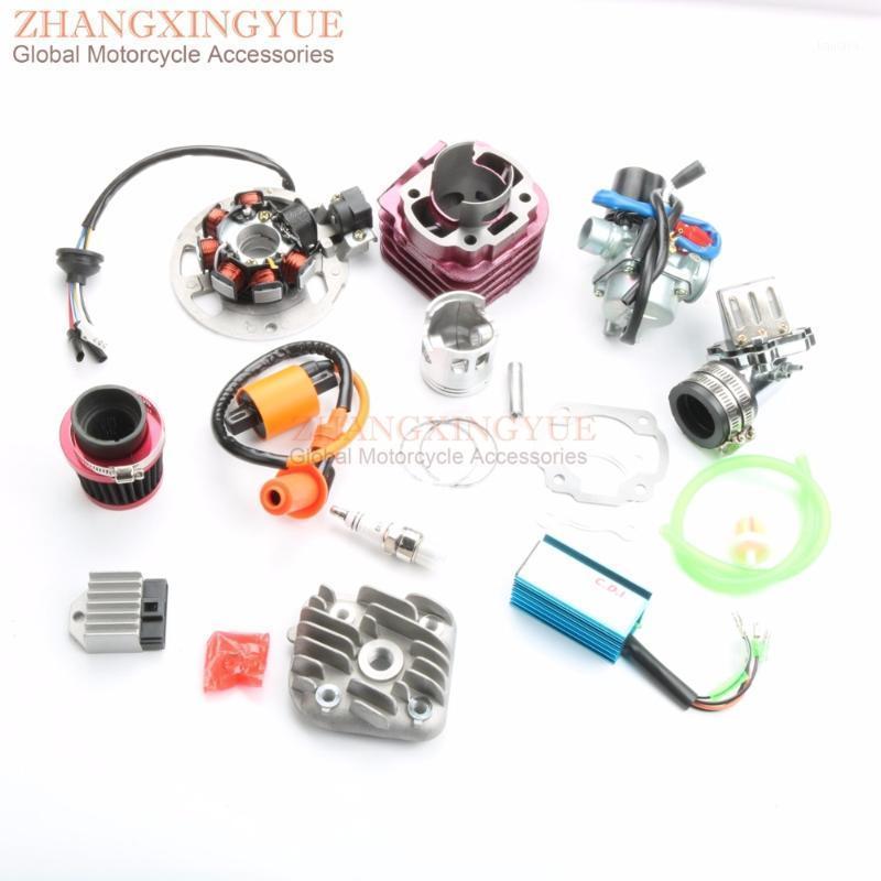 70cc Cylinder Kit Zylinderkopf Vergaser Luftfilterspule CDI für Jog 50 Minarelli 1E40qmb 47mm / 10mm1