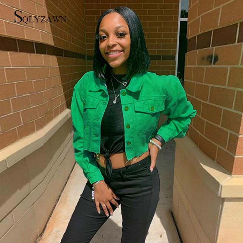 Streetwear Denim Kırpılmış Ceket Kadın Güz Gotik Yırtık Kovboy Bombacı Ceket Harajuku Vintage Yeşil Siyah Uzun Kollu Giysi