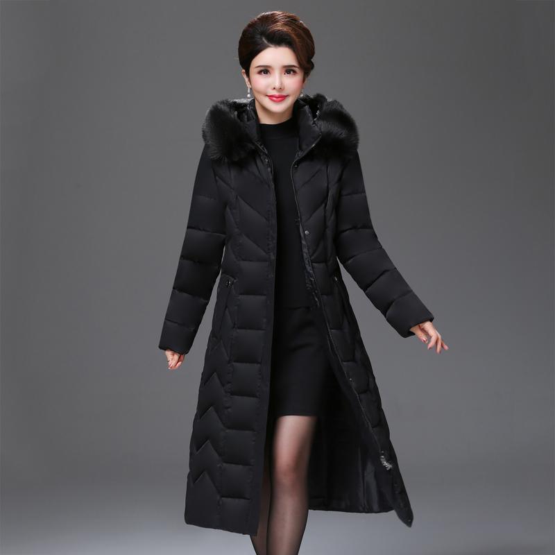 X-lunghi casuali inverno signore ufficio donne giacca parka mujer formato più solido con cappuccio con pelo folto collo di pelliccia donne sottili 201015