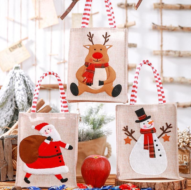 Christmas Gift Bags Santa Sacks Linen Bag With Handle Snowman Elk Christmas Storage Bag For Kids Party Favors Xmas Decorations DBC BH4344