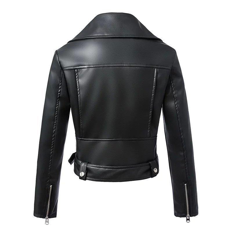 Kemer Fermuar Moto Biker Coat 201.016 ile Fitaylor Siyah Faux Deri Ceket Kadınlar İlkbahar Sonbahar Kısa Yumuşak Pu Deri Ceket