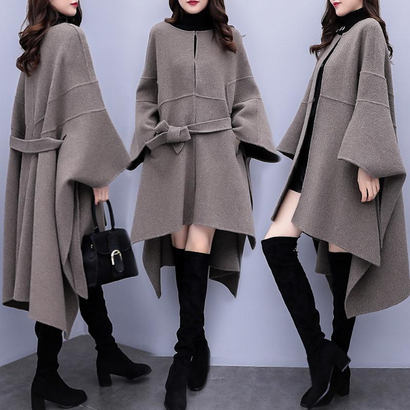 여성용 양모 블렌드 2021 가을 겨울 여성 망토 모직 코트 코트 여성 한국어 느슨한 긴 고품질 오버 코트 플러스 크기 3XL