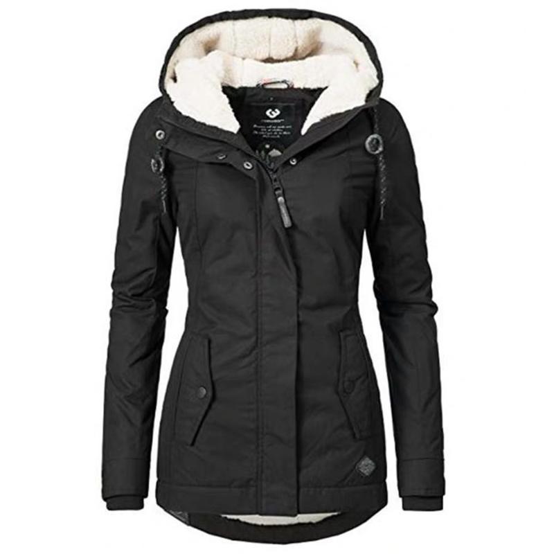 Autunno inverno donne in cotone imbottito giacca cappotto casual outwear parka soprabito femminile manica lunga nera calda calda slim giacche con cappuccio