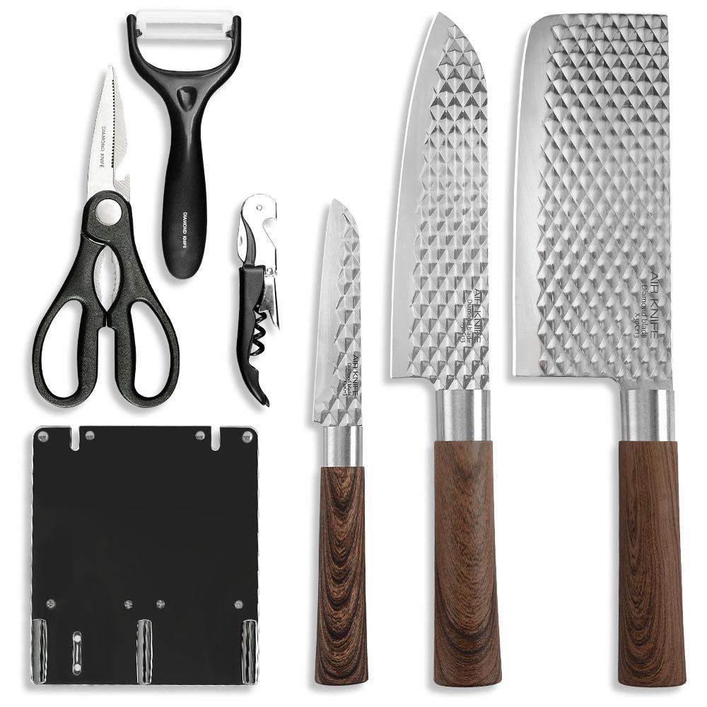 XYJ 7 Parça Mutfak Bıçaklar Set Giftbox Ile Yüksek Kalite Paslanmaz Çelik Dövme Mutfak Şef Bıçak Seti Pişirme Araçları En Iyi Hediye
