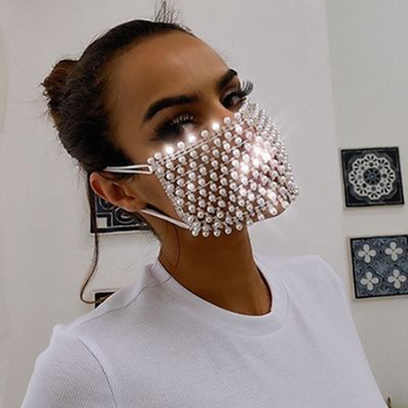 Masken Glänzende Strass Pearl Gesichtsmaske Dekorationen für Frauen Bling Kristall Cover Gesicht Dekor Party Geschenk Designer Masken
