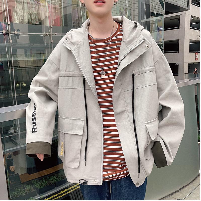 UYUK otoño nueva chaqueta suelta la manera ocasional sólida tendencia chaqueta Streetwear Ropa de Hip Hop cazadora de hombres de color Negro