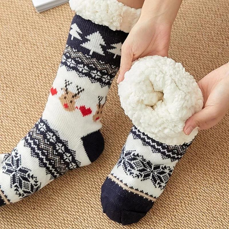 2021 Herbst-Winter-Frauen Hausschuhe Heim Socken Weihnachten Cartoon Elk Fußboden-Socken-Plüsch-Samt-Anti-Rutsch-Teppich Fluffy Socken warm