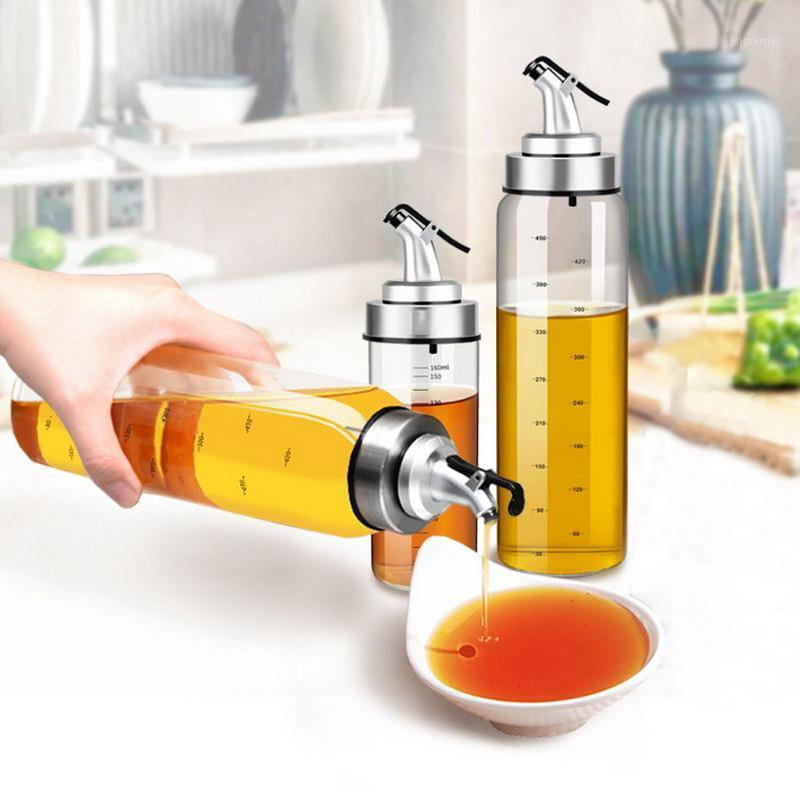 Dispensador de aceite Vidrio Olivo Olive Oil Vinagre Botella Hogar A Prueba de Fugas Soft Sauces Botella Oilero Spout Accesorios de Cocina 200/300 / 500ml1