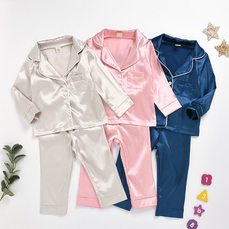 2020 neue Kinder-Pyjama-Set Babyklage kleidet Kinder Eis Seidensatin reine Farbe Top-Hosenanzug Kinder nach Hause Service Kleidung