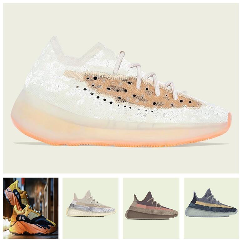 Мужская Женская спортивная обувь 2021 Kanye West Sun Yecoraite Мода оптом Света Света Светоотражающие Случайные Спортивные кроссовки Небесно Синее Обувь Размер 36-48