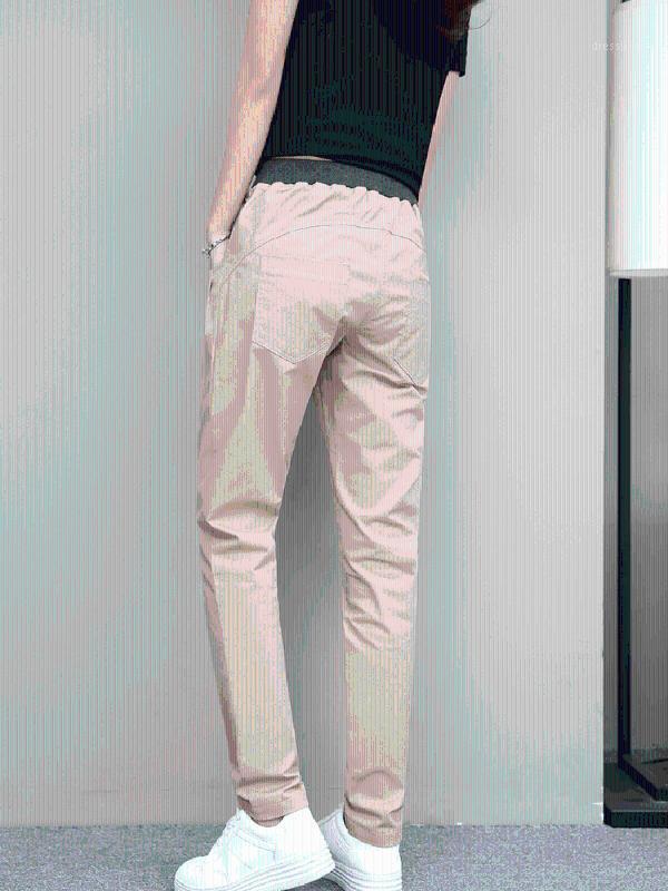 Женские джинсы плюс размер сплошной цвет тонкий высокий талию женщин гарем брюки хлопчатобумажные инструменты сексуальные карандаши брюки весна осень сезона улица одежда
