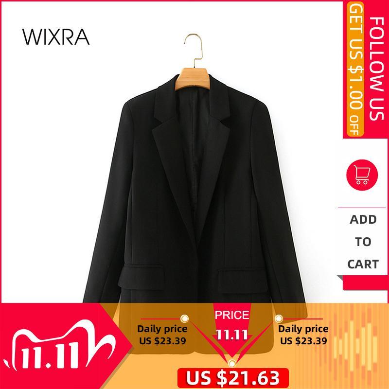 WixRA женские блейзер куртка повседневная сплошной цвет двубортный карманный пальто Офис леди осень и весна 201102