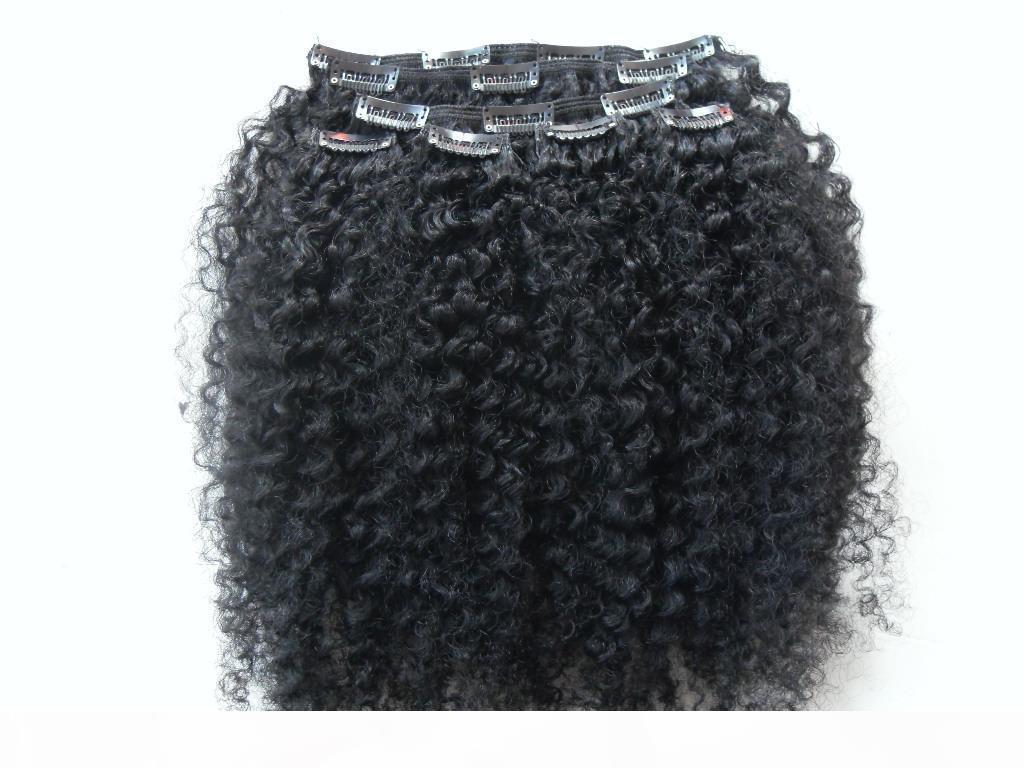 Brasilianische Human Jungfrau Remy Clip Ins Haarverlängerungen Kinky Curls Haar Schussstrahl Schwarz 1 # Farbe
