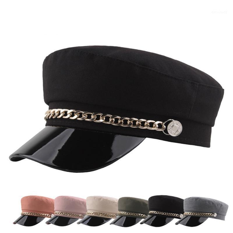 Chapeau de visière solide de laine de mode automne et hiver Vintage Vintage Patchwork PU Beret Cap pour Femmes Angleterre Style Plat Cap1
