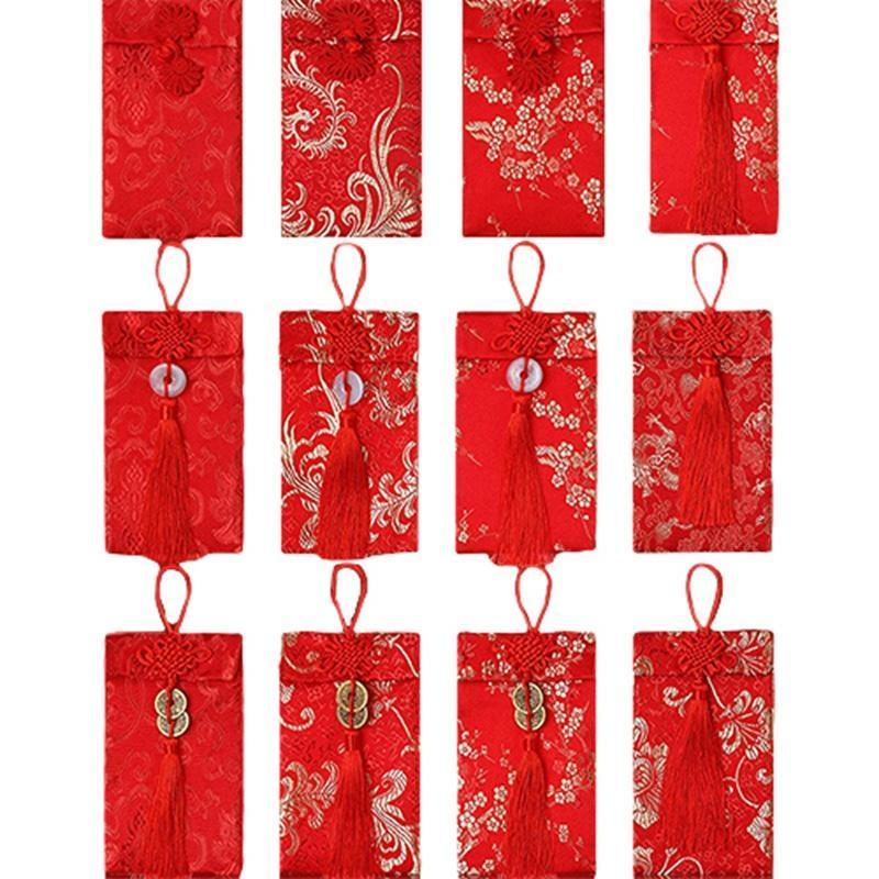 12 stücke chinesische seide rot umschläge ox frühling festival seide rote pakete glückwahrschein geld taschen geld umhüllungen