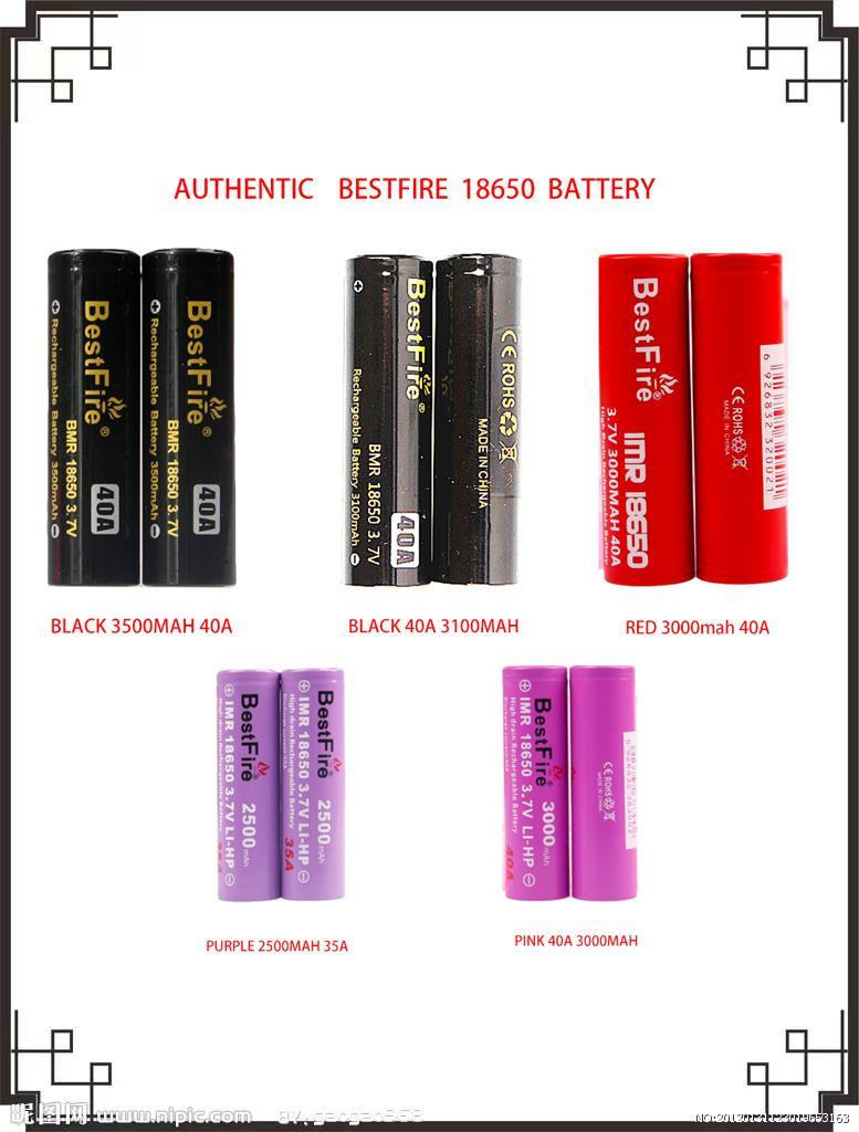 100٪ الأصلي bestfire 18650 بطارية السلسلة 35A / 40A 2500MAH / 3100mAh / 3000mAh / 3500mAh بطاريات الليثيوم التفريغ 5 نماذج