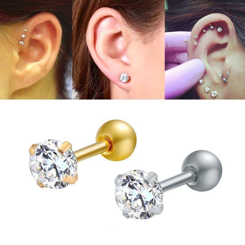 Titane Acier Zircon Boucles d'oreilles Taille 8 mm cristal Cartilage boucle d'oreille Piercing oreille Bricolage Top femmes Bijoux de corps