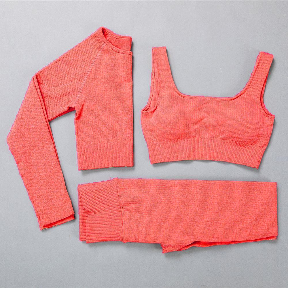 3шт бесшовные женский костюм для йоги фитнес спортивная одежда с длинным рукавом спортивные верхние высокие талии леггинсы тренировки одежды одежды