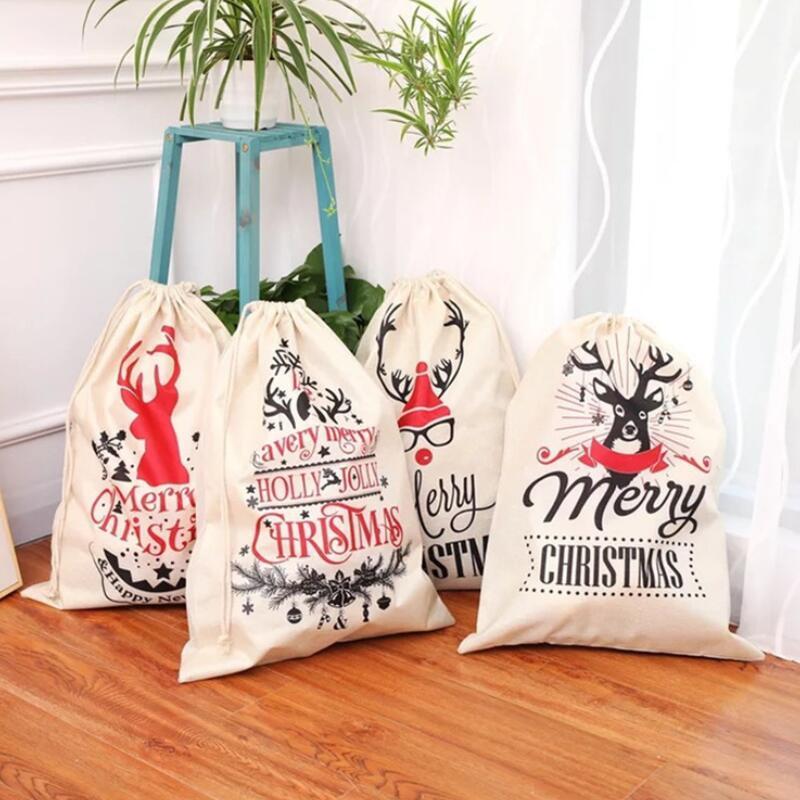 Xmas Sack Олени Санта-Клаус мешок Рождественский подарок мешки Drawstring Большой Олень Лось сумка для хранения Дети конфеты подарочные пакеты LX3538