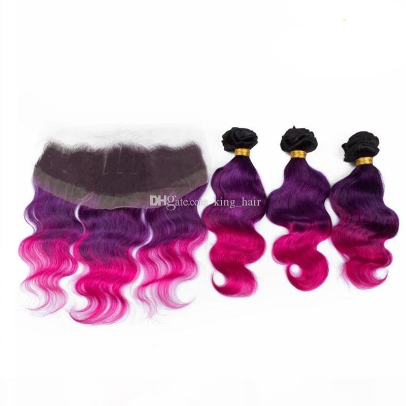 EXTENTIONS DE CHEVEUX DE COULEUR OMBRE AVEC TOP TOPCS Fermeture de lot Ombre Couleur 1B Purple Rose Cheveux humains 3bungs avec une fermeture en dentelle 13x4