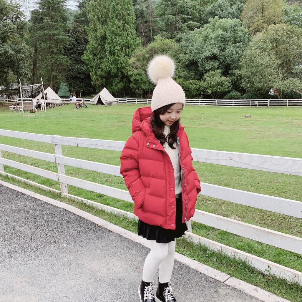 Yeni Bebek Kız Ceketler Kış Açık Moda Çocuk Kırmızı Sıcak Coat Çocuklar Kız kalınlaşma Kapşonlu Dış Giyim Tops