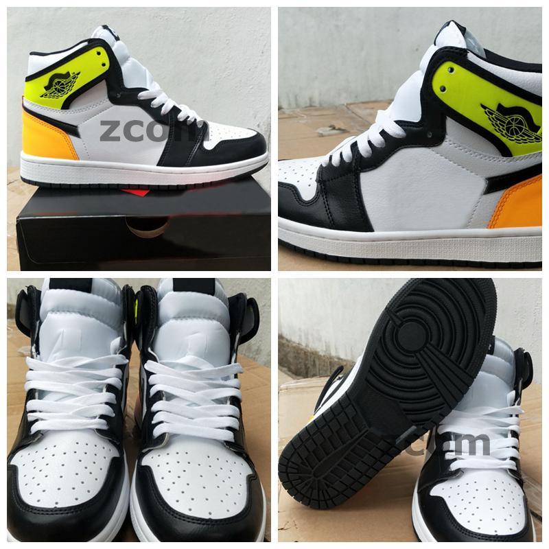 2021 Jumpman 1 1s 높은 OG 볼트 골드 망 농구 신발 여성 운동화 검은 노란색 오렌지 트레이너 스포츠 zapatos 36-46