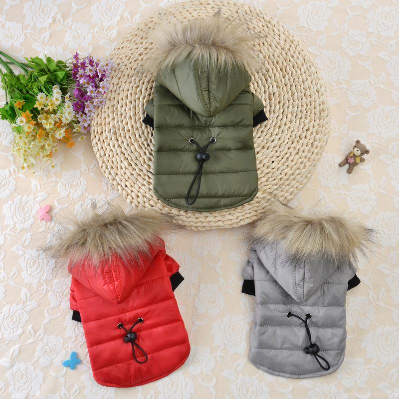Haustier Hund Kleider Mantel Winter Warme Kleine Hunde Kleidung Für Weiche Pelzhaube Welpen Daunenjacke Kleidung