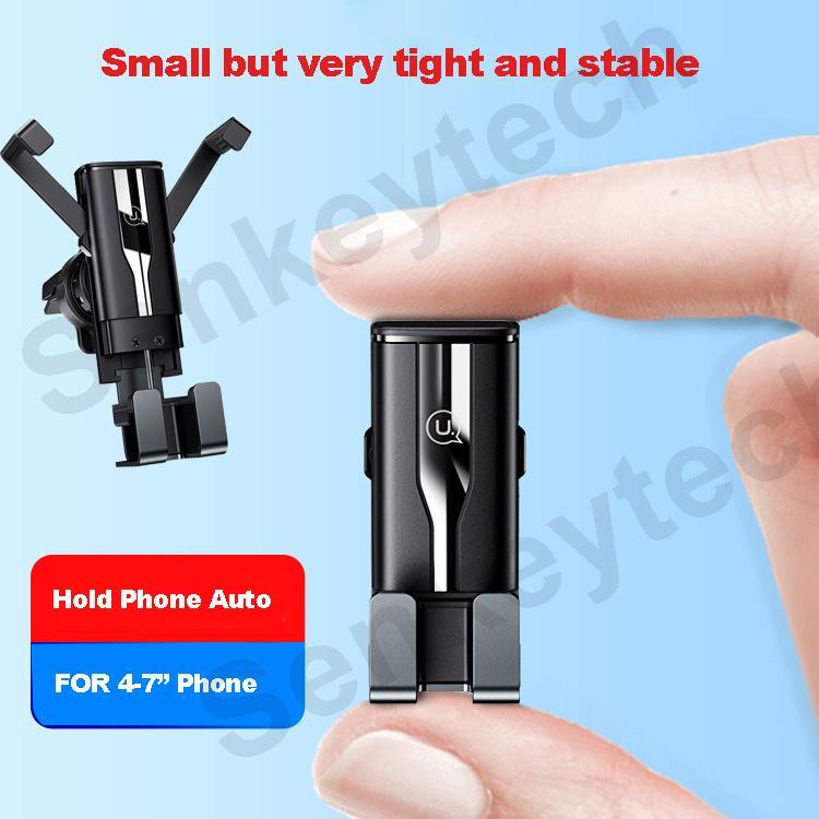 """Mini rétractable automatique Gravity Support Voiture 4-7"""" Universal en alliage d'aluminium + PC + ABS Air Vent Clips Téléphones Holder"""