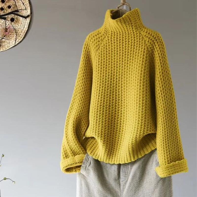 Jersey casual cuello alto suéter de mujer invierno sin mangas suéter negro estilo de alta calle elegante jersey de mujeres jersey nuevo F1230
