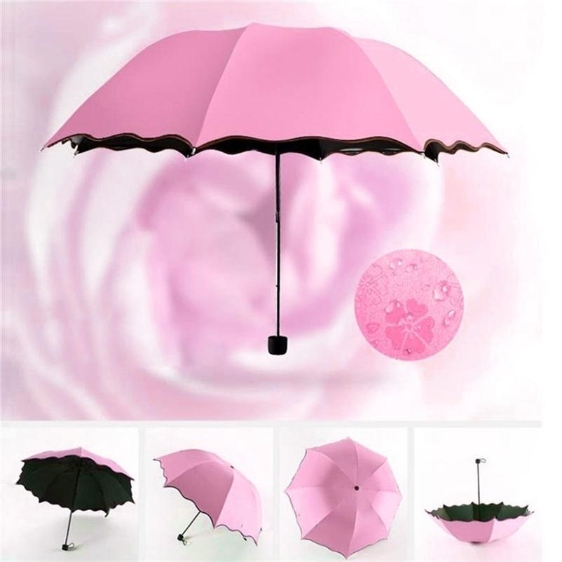 Summer parasols thickening type watering flowers black plastic umbrella creative rain three fold manual sunscreen umbrella #3J18 201130