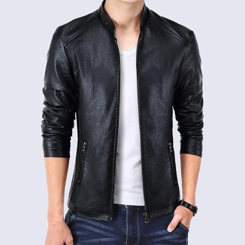 Uomo Autumn Stand Collar Smart Casual OverCoats Outwear Taglia M-4XL Molla Moda Moda New PU Giacche in pelle Cappotti1