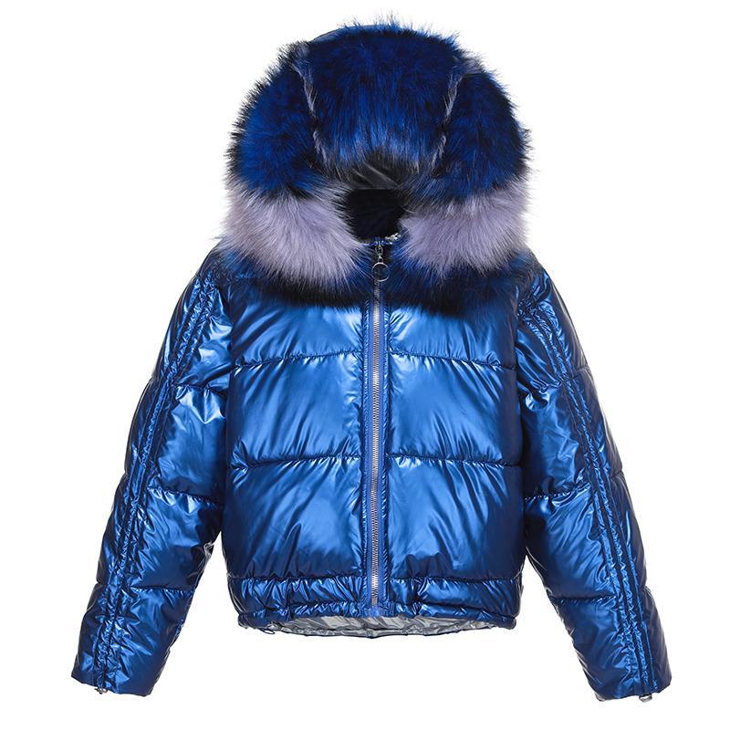 Jacket Casacos de inverno curto Mulheres Glossy Down Jacket Cotton Parkas Feminino Big gola de pele brilhante espessura quente outwear 201014