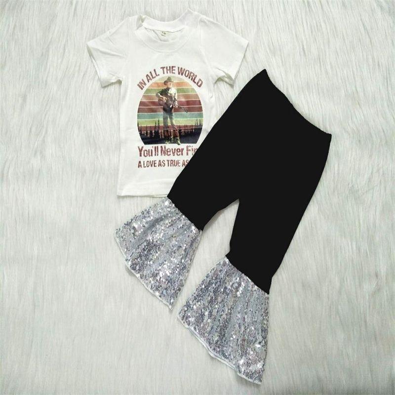 Новое поступление во все Всемирные наряды Baby Girls Pattern Pattern Top + Paillette Bell-Dottions 2 шт. Устанавливает детскую одежду GXJ T200808