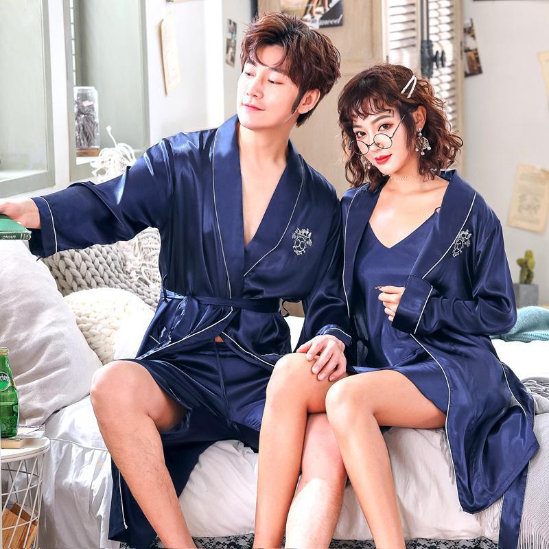 Couple Kimono Robe Gown Suit Lounge Turn-down Collar Print Bathrobe Spring Autumn Faux Silk Sleepwear Loose Home Wear With Belt