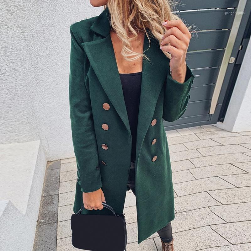 Casaco de inverno casaco de outono Mulheres Dupla Breasted Mid-Long Casaco Coreano Temperamento Vintage Feminino Plus Size Quente Preto Blazer1