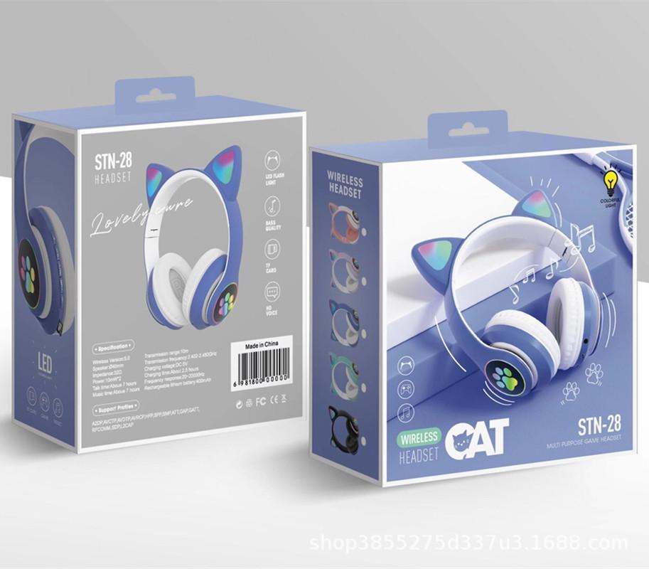 Grenzüberschreitender neuer bunter Cat-Ohrkopf mit Bluetooth-Headset tragbarer faltender schwerer Bass-Live-Stimmkopfhörer